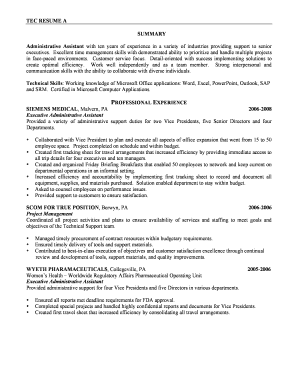 Editable Senior executive assistant resume Fill Out Print