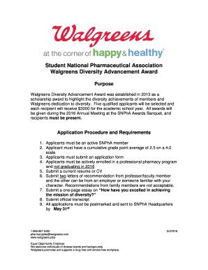 photo regarding Walgreens Printable Applications identified as SNPhA / Walgreens Range Development Award Scholarship