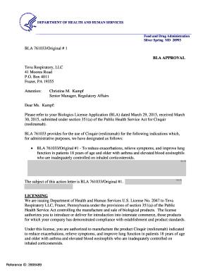 Fillable Online Accessdata Fda Approval Letter BLA 761033