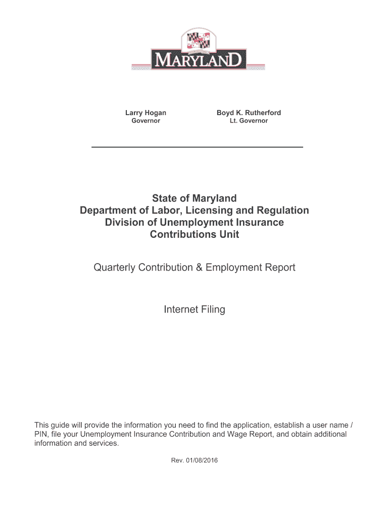 Maryland Unemployment Insurance Quarterly Contribution Report Form
