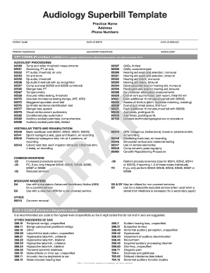 Audiology Superbill 2015 - Fill Online, Printable, Fillable, Blank ...