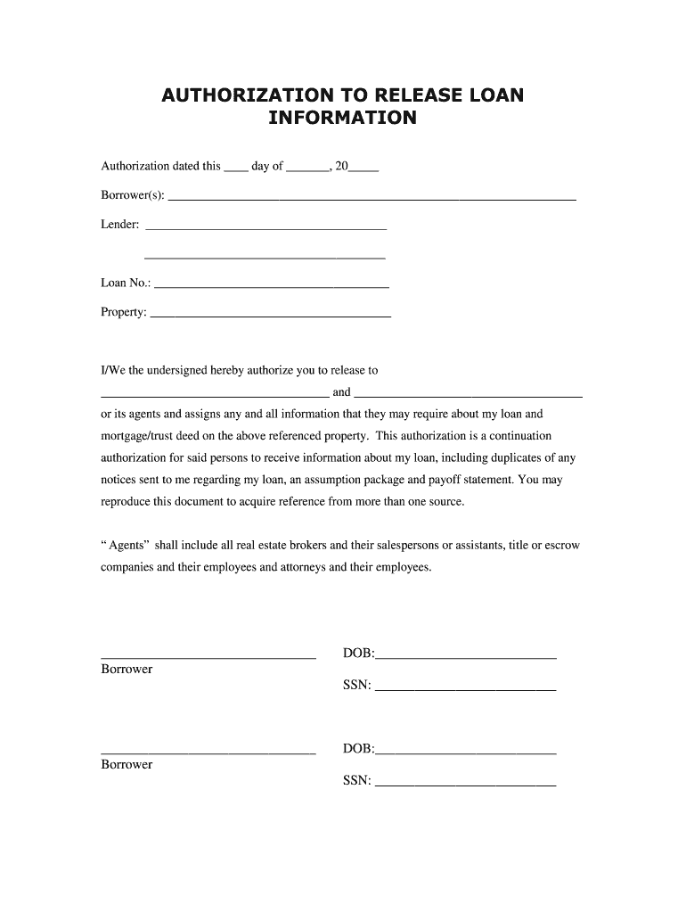 Blank Authorization To Release Information Form   Fill Online, Printable,  Fillable, Blank   pdfFiller