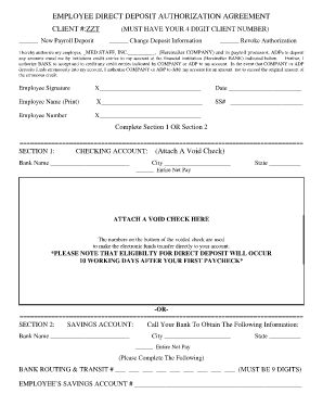 employees direct deposit form template