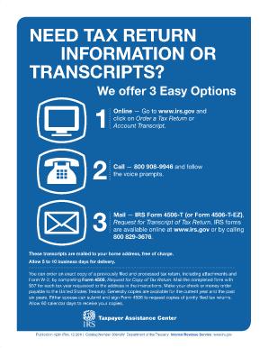 Need Tax Return Information Or Transcripts Publication 4201