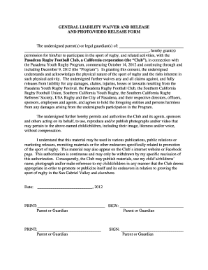 General Liability Waiver 2012 Florida Form  Generic Liability Waiver And Release Form