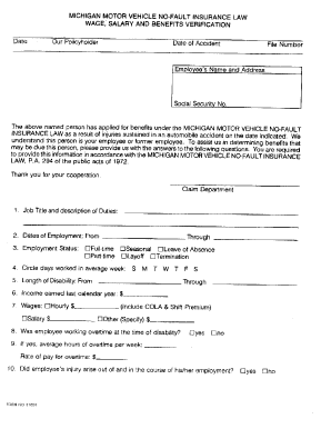 Fillable Online Wage Loss Verification Form - Michigan Personal ...