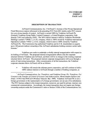 Fillable Online FCC FORM 603 EXHIBIT 1 PAGE 1 of 2 DESCRIPTION OF ...