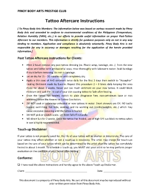 Tattoo Aftercare Form - Fill Online, Printable, Fillable, Blank ...