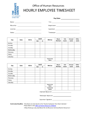 Hourly Employee Time Sheet - gc cuny