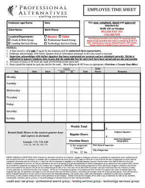 26 printable employee timesheet template forms fillable samples in