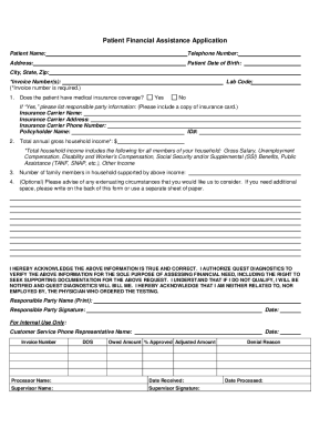 Application For Financial Assistance Form