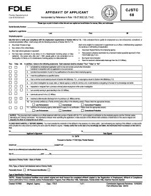Fillable Online miamigardens-fl CJSTC-68 Affidavit of Applicant ...