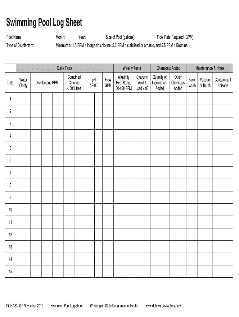 Swimmimg Pool Log Sheet Fill Online Printable Fillable