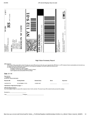 Fillable Online UPS Internet Shipping: Shipment Label Fax
