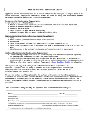 sample aicp employment verification letter form