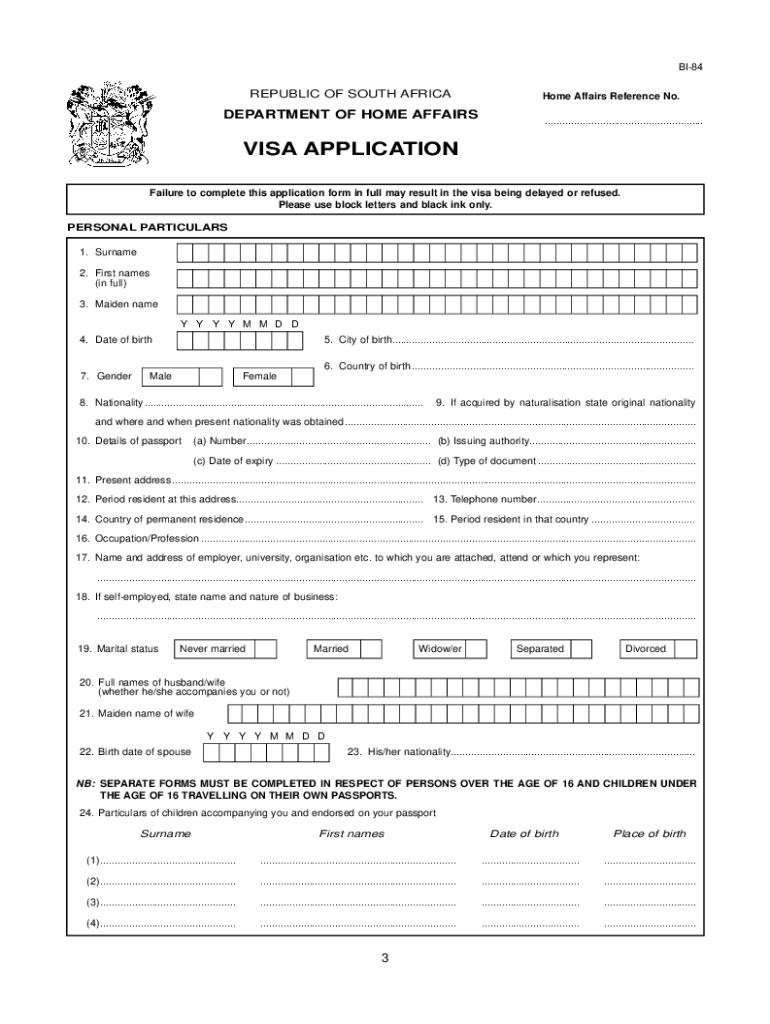 How To Fill South Africa Visa Application Form Fill Online Printable Fillable Blank Pdffiller