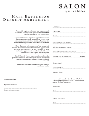 hair extension waiver form