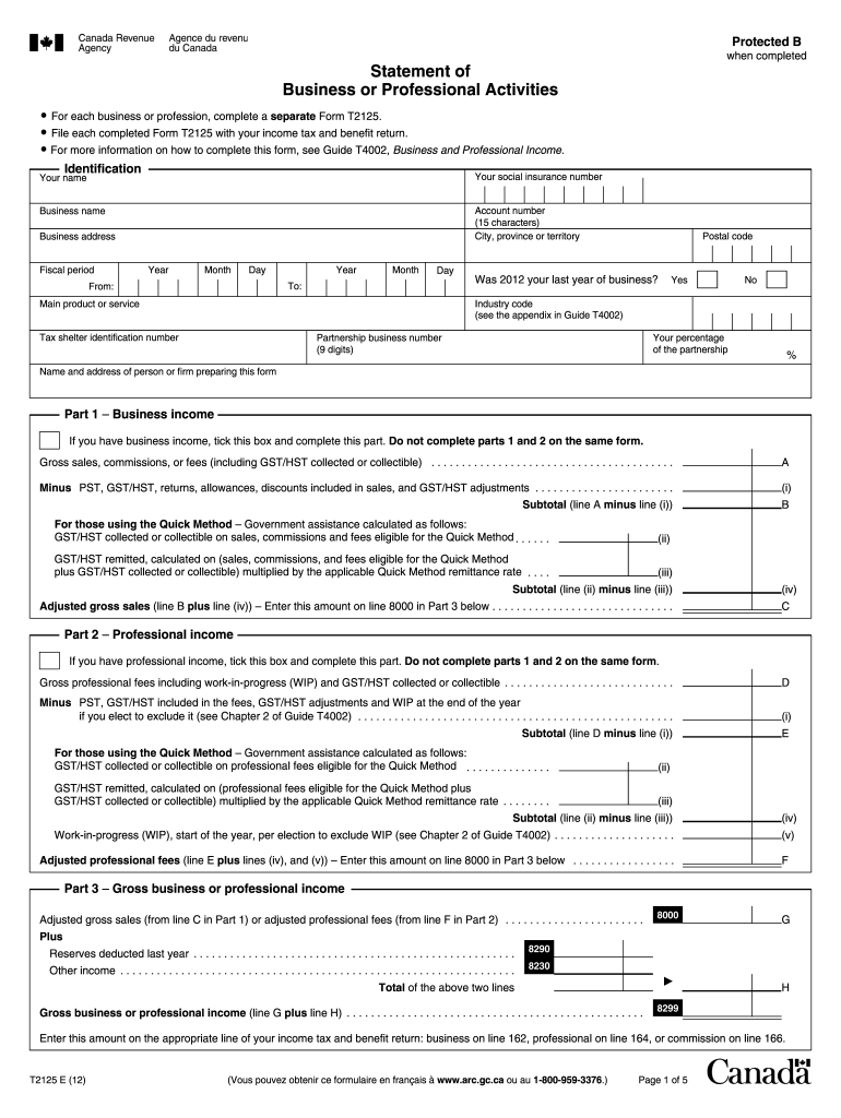 2012-2019 Form Canada T2125 Fill Online, Printable, Fillable, Blank