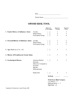 opioid risk tool ms word form