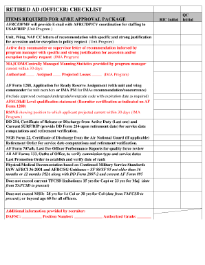 RETIRED AD (OFFICER) CHECKLIST - Air Reserve Personnel Center - arpc afrc af