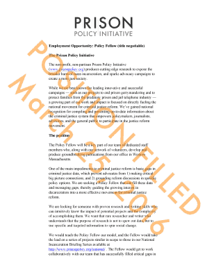 Policy Fellow (title negotiable) - Prison Policy Initiative