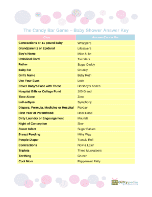 picture about Printable Baby Shower Candy Bar Game With Answers referred to as Youngster Shower Online games Sweet Bar Remedies Little one Shower Themes