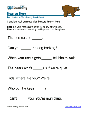 Fillable Online Vocabulary 4th grade hear or here - fourth ...