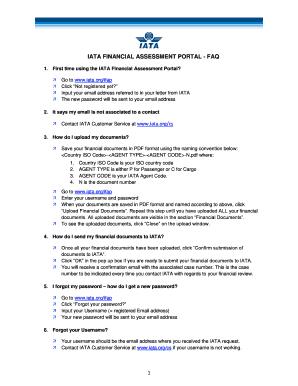 Fillable Online iata IATA FINANCIAL ASSESSMENT PORTAL - FAQ - iata
