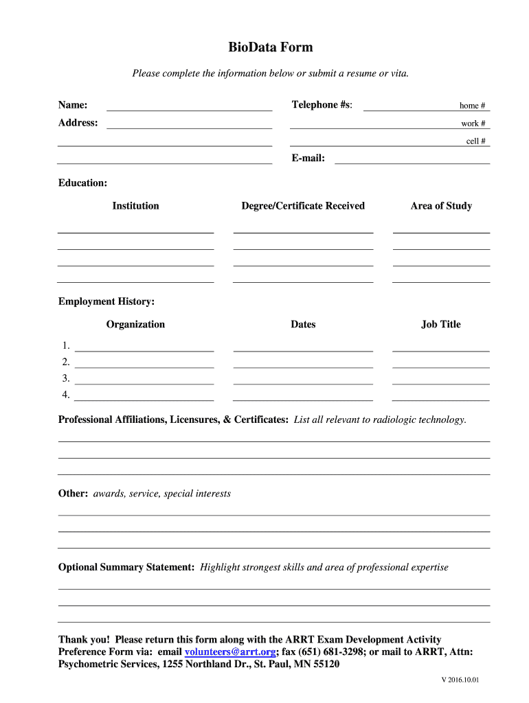Biodata Form Fill Online Printable Fillable Blank Pdffiller Pdffiller