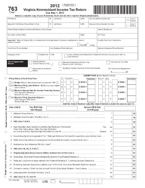 Where Send Form 763 Virginia 2012 - Fill Online, Printable ...