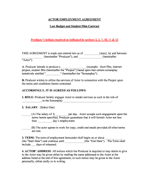 Employment agreement forms and templates fillable for Acting contract template