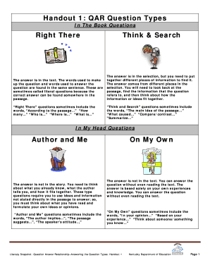 Handout 1: QAR Question Types Right There Think & Search Author ... - education ky