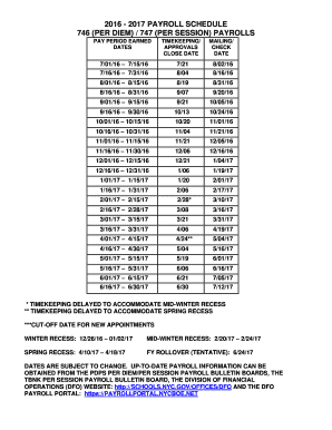 Nyc Doe Salary Schedule 2019 Fillable Online schools nyc 2016   2017 PAYROLL SCHEDULE 746 (PER