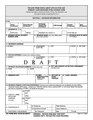 Fillable Online reginfo DD Form 2876, TRICARE Prime Enrollment ...