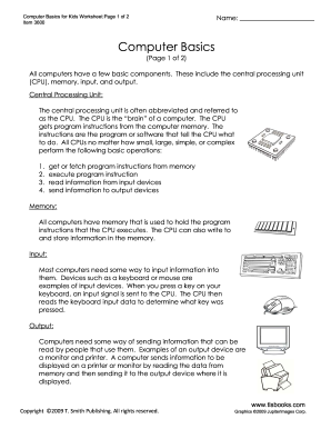 Fillable Online Computer Basics for Kids  Students will read