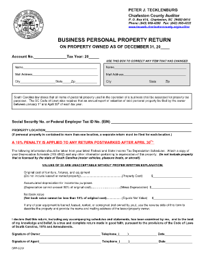 Charleston County Personal Property Tax Return