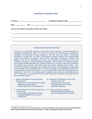 individual transition plan form