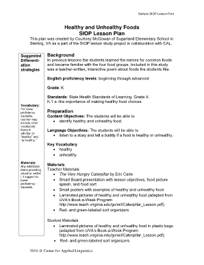 For Seniors Kg Healthy And Unhealthy Foods Siop Lesson Plan Fill - Health lesson plan template