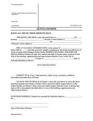 colorado quitclaim deed fill online printable fillable blank pdffiller