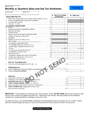Monthly Or Quarterly Sales And Use Tax Worksheet Michigan - Fill ...