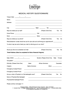spa questionnaire form