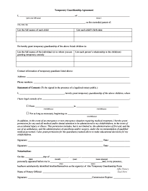 Temporary Guardianship Forms | Temporary Guardianship Formpdffillercom Fill Online Printable