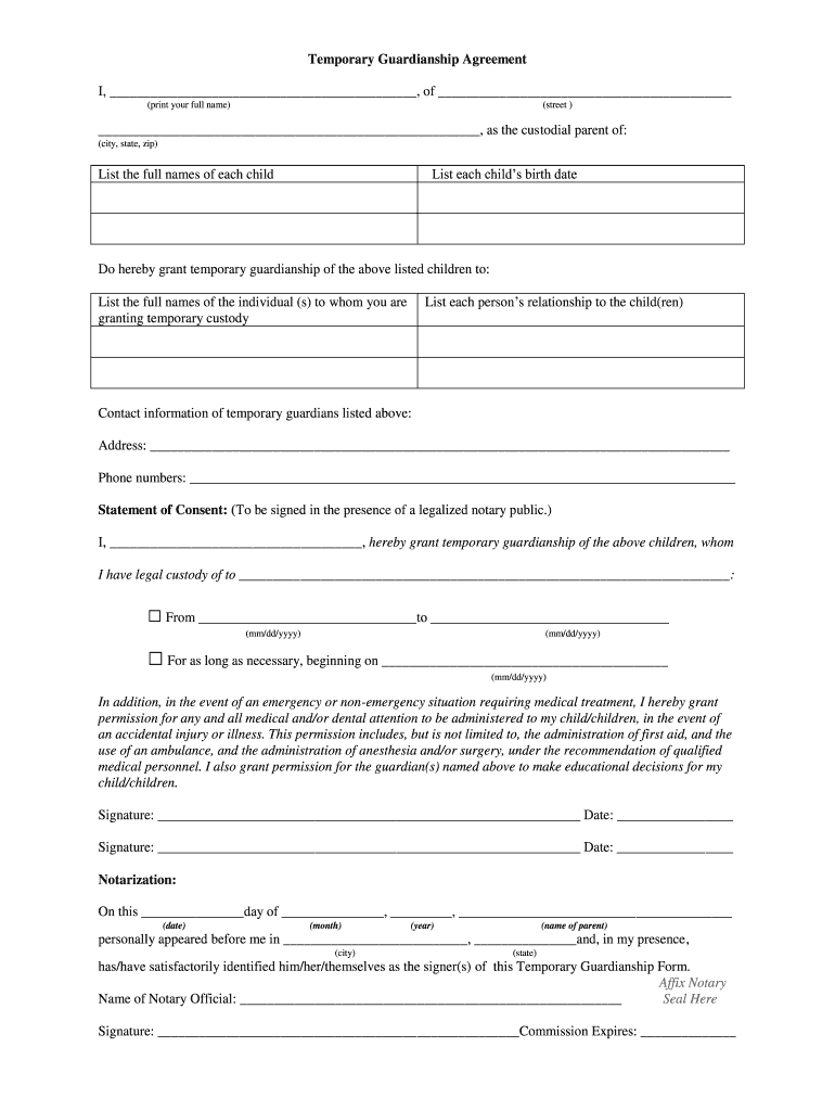 picture about Free Printable Temporary Guardianship Form referred to as Momentary Guardianship Formpdffillercom - Fill On line