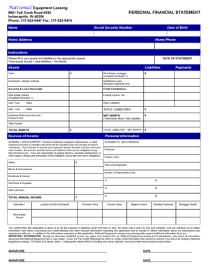 personal financial statement form blank nyc