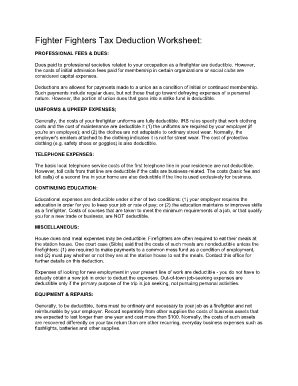 Firefighter Tax Deductions Worksheet - Fill Online, Printable ...