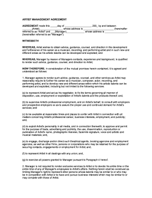 Artist Management Agreement Fill Online Printable Fillable