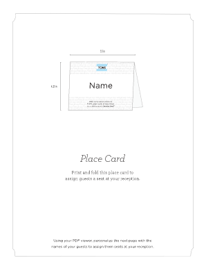 create typeable place cards form