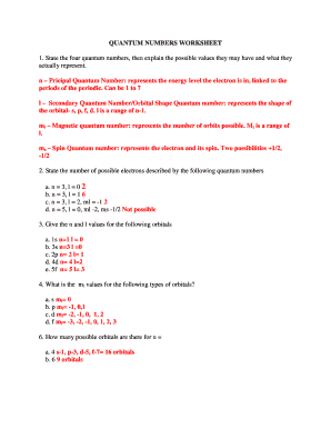 Fillable Online QUANTUM NUMBERS WORKSHEET answers.doc Fax Email ...