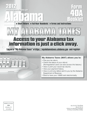 Alabama 40a Tax Form Instruction Booklet - Fill Online, Printable ...