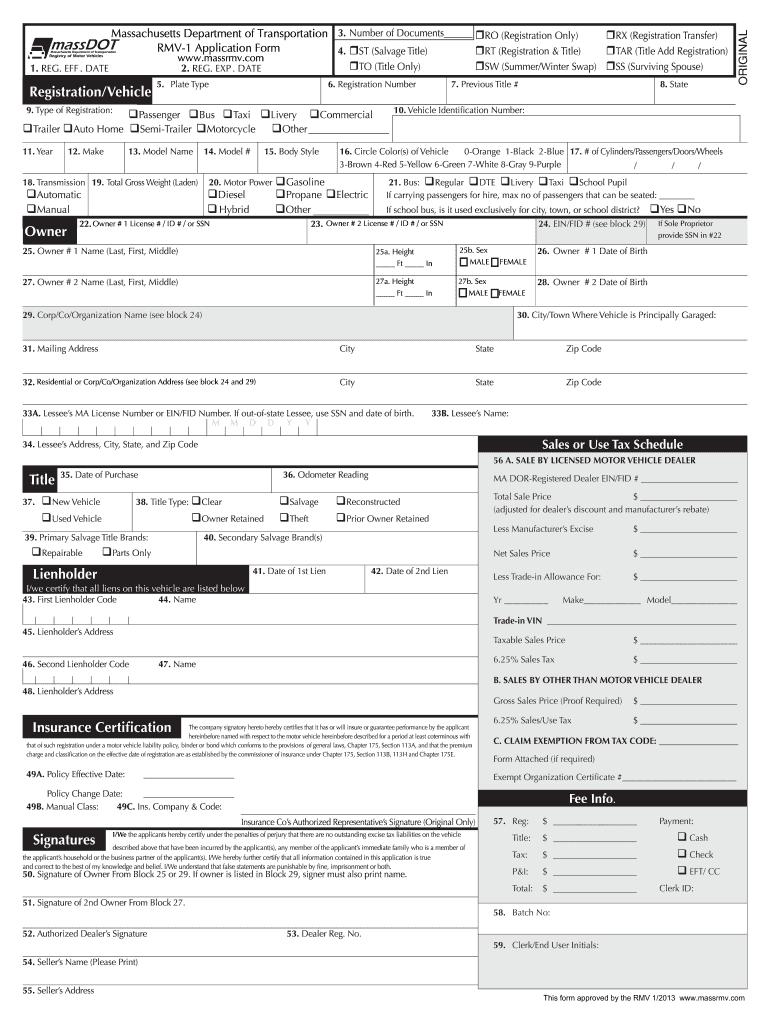 Rmv 1 Form >> 2013 2019 Form Ma Rmv 1 Fill Online Printable Fillable Blank